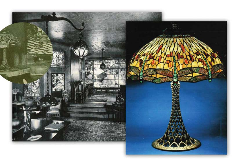 Tiffany Dragonfly Glass Lamp Shade With Tiffany Bronze Table Base. Believed  To Be The Lamp In A Photograph Of Laurelton Hall, Louis Comfort Tiffanyu0027s  Home.
